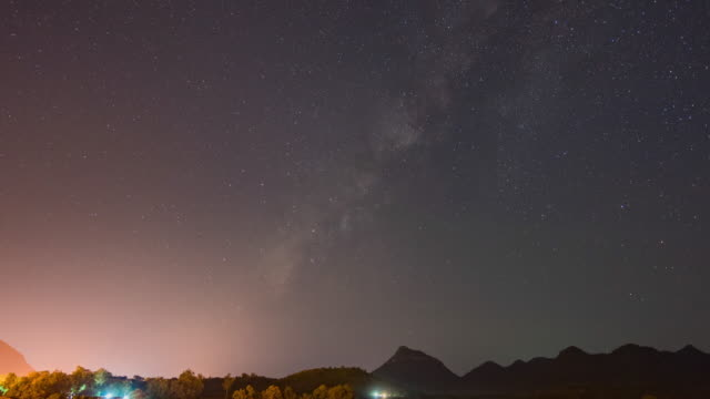 day to night time lapse of milky way galaxy with clear sky - day to night time lapse stock videos & royalty-free footage