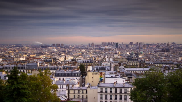 day to night time lapse of paris from montmartre - day stock videos & royalty-free footage