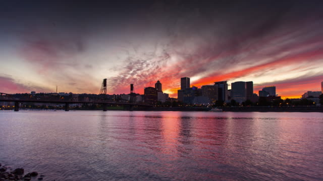 day to night time lapse of partland skyline - time lapse - portland oregon stock videos & royalty-free footage