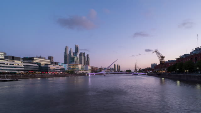 day to night time lapse of puerto madero in buenos aires - puerto madero stock videos & royalty-free footage