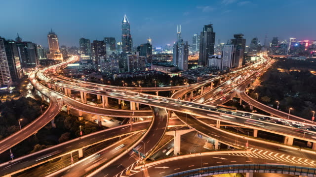 day to night time lapse of road intersection shanghai - 4k resolution stock videos & royalty-free footage