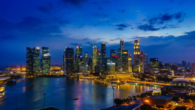 Day to night time lapse of Singapore's skyline