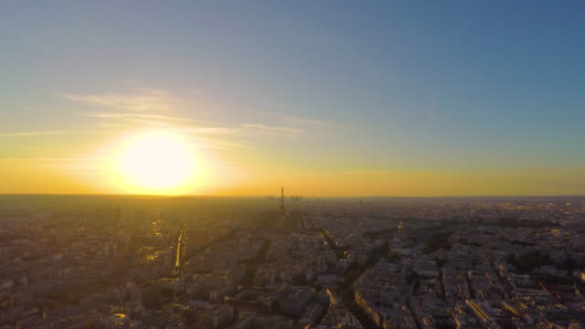 day to night time lapse of sunset over paris skyline. - day to sunset stock videos & royalty-free footage