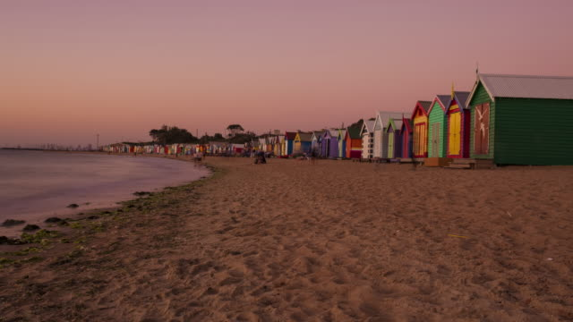 a day to night time lapse of the beach houses at brighton beach, melbourne. - david ewing stock videos & royalty-free footage