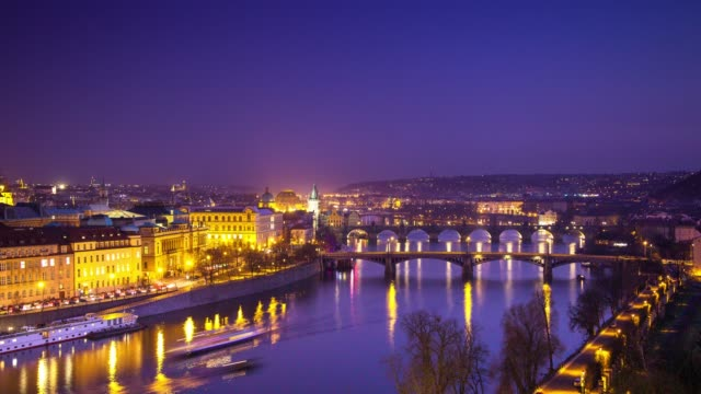 Day to night Time Lapse of the Vltava River Flowing Through Prague