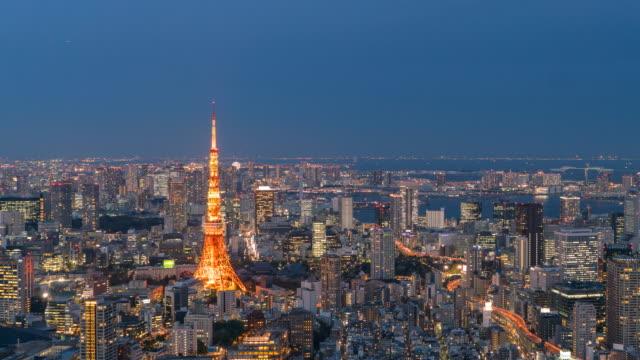 日本の夜の時間経過の東京市に日 - 昼から夜点の映像素材/bロール