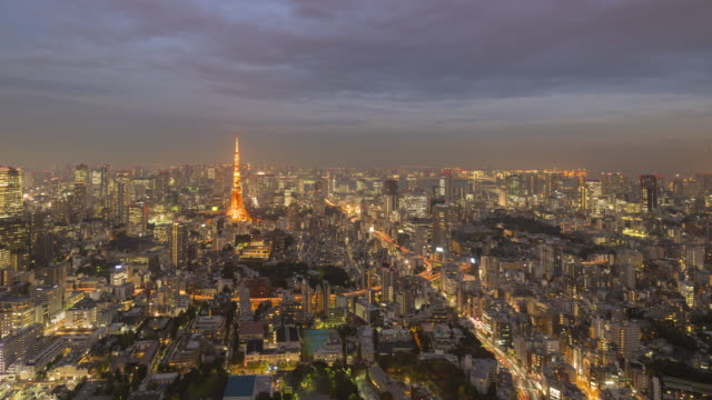 day to night time lapse of tokyo skyline - day and night image series stock videos & royalty-free footage