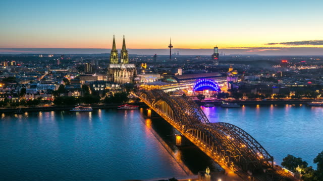4k day to night time-lapse: aerial cologne cathedral germany - north rhine westphalia stock videos & royalty-free footage