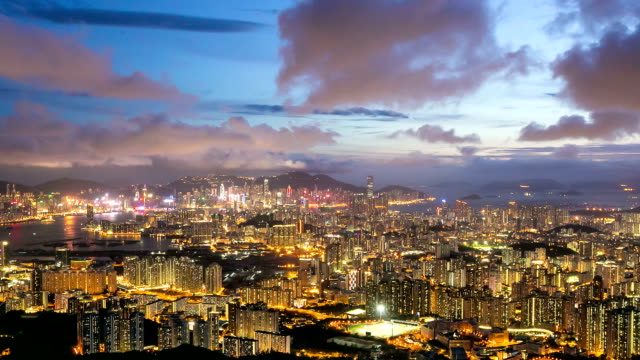 HD Day to night Time-lapse: Aerial Hong Kong Kowloon Action