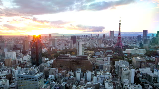 HD Day to Night Time-lapse: aerial Tokyo tower Cityscape