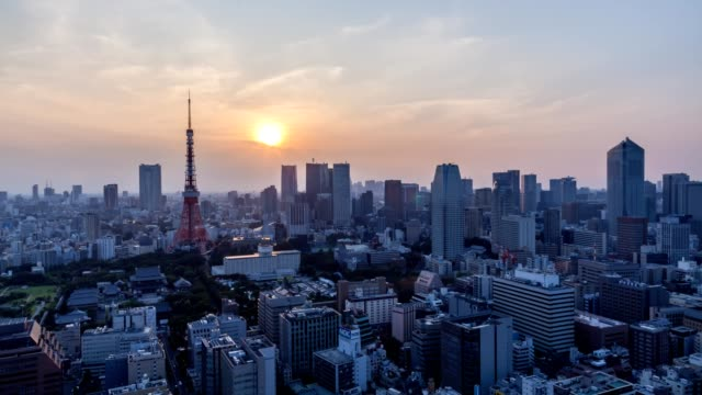 4K Day to Night Time-lapse: aerial Tokyo tower Cityscape