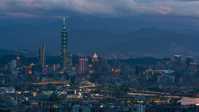 day to night time-lapse aerial view of business district in city of taipei, taiwan - taipei stock videos & royalty-free footage