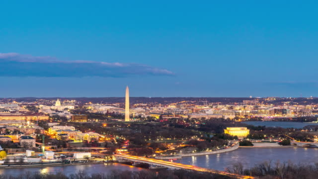 day to night time-lapse: aerial view of washington dc national mall usa at sunset twilight - washington dc stock videos & royalty-free footage