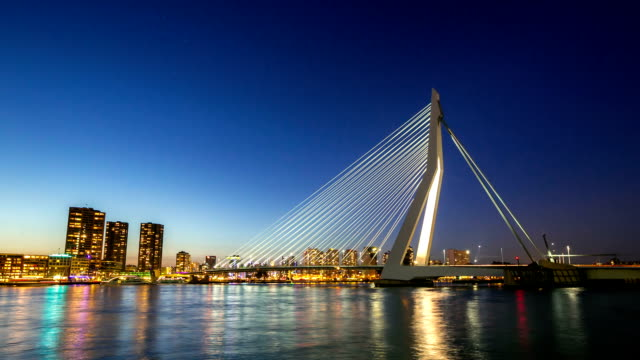 hd day to night time-lapse: erasmus bridge rotterdam, netherlands - day stock videos & royalty-free footage