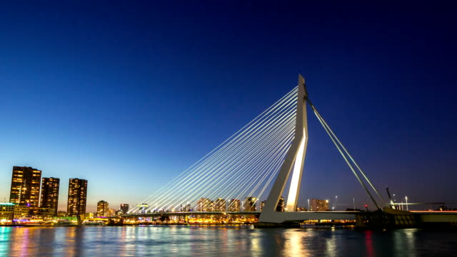 hd day to night time-lapse: erasmus bridge rotterdam, netherlands - skyline stock videos & royalty-free footage