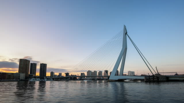 day to night time-lapse: Erasmus bridge Rotterdam, Netherlands