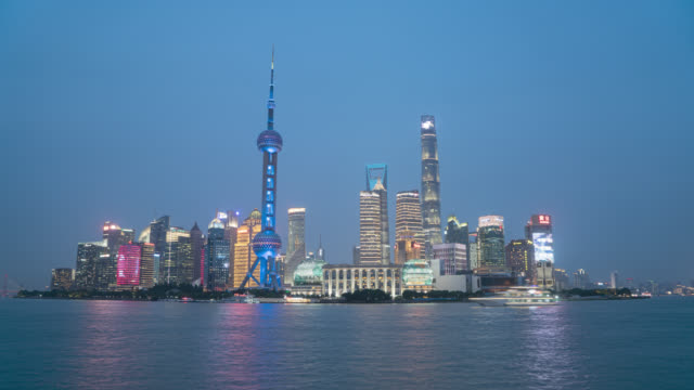 day to night timelapse in shanghai - liyao xie stock videos & royalty-free footage