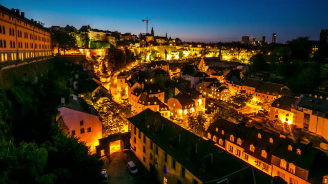4k day to night time-lapse: luxembourg city old town cityscape - luxembourg benelux stock videos & royalty-free footage