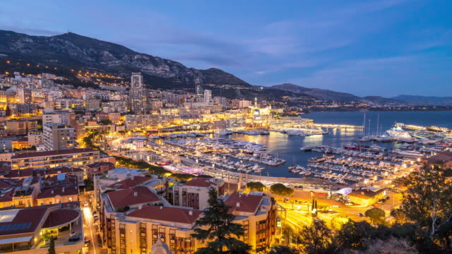 day to night time-lapse: monaco monte carlo french riviera - monaco stock videos and b-roll footage