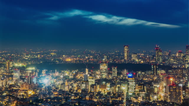 day to night timelapse of cityscape in tokyo, japan taken from roppongi hills mori tower observation - observation point stock videos & royalty-free footage