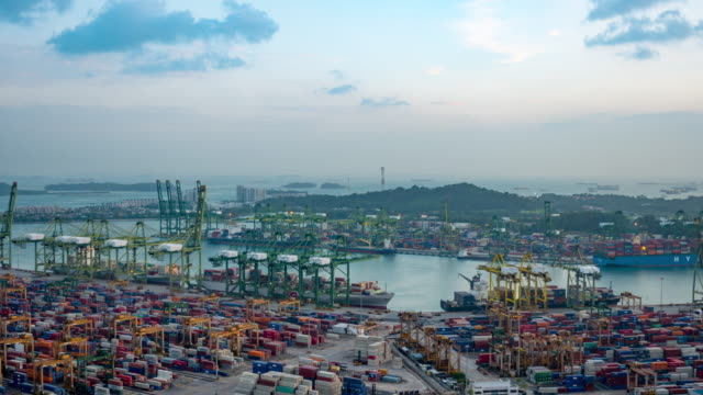 Day to night time-lapse of Container Port docks ship container