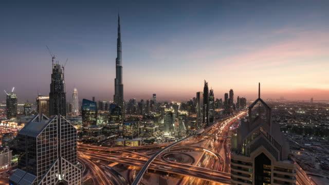 day to night timelapse of Dubai skyline