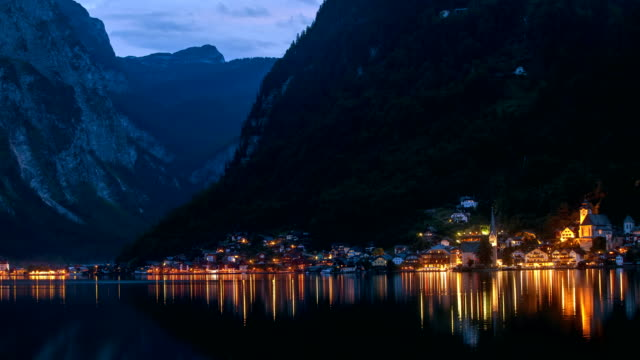 Day to Night timelapse of Hallstatt from across the Lake