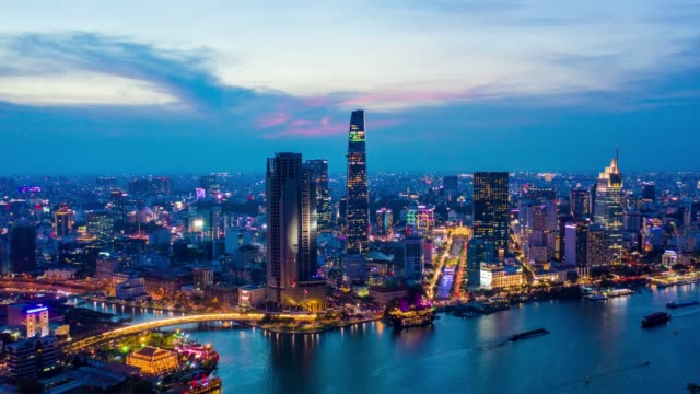 day to night timelapse of ho chi minh city skyline in vietnam - capital cities stock videos & royalty-free footage