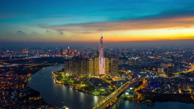 day to night timelapse of ho chi minh city skyline in vietnam - vietnam stock videos & royalty-free footage