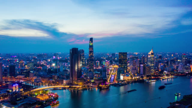 day to night timelapse of ho chi minh city skyline in vietnam - panoramic stock videos & royalty-free footage