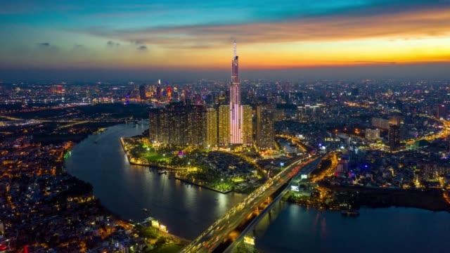 day to night timelapse of ho chi minh city skyline - vietnam stock videos & royalty-free footage