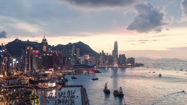 day to night timelapse of Hong Kong and Victoria Bay