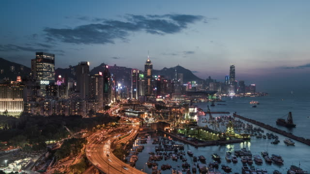 day to night timelapse of Hong Kong Island
