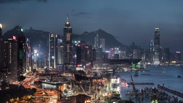 day to night timelapse of hong kong skyline - hong kong video stock e b–roll