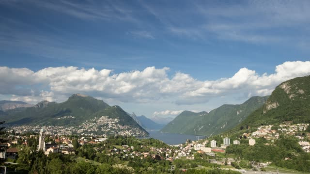 day to night timelapse of lugano switzerland - day to night stock videos & royalty-free footage