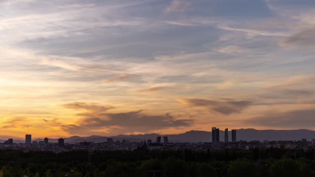 Day to Night Timelapse of Madrid skyline at sunset