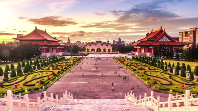 Day to night timelapse of National Theater, Concert Hall at the Chiang Kai-shek Memorial Hall in Taipei,
