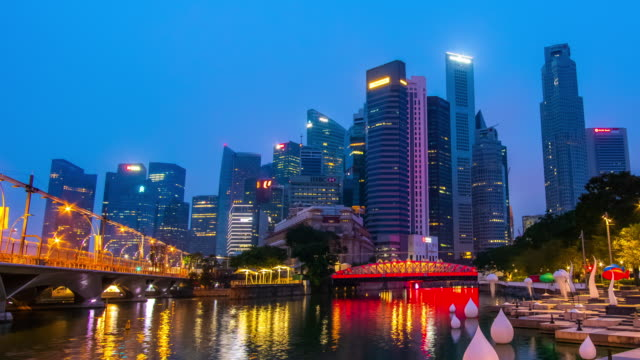 day to night timelapse of singapore cityscape - river singapore stock videos & royalty-free footage