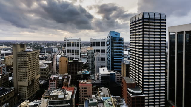 Day to Night Timelapse of Sydney CBD from elevated viewpoint in 4K