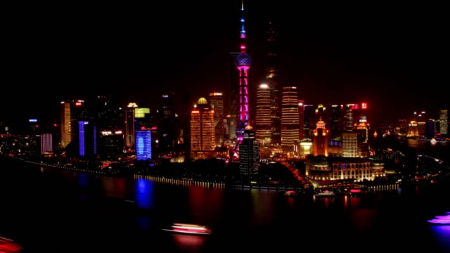 day to night timelapse of the bund and busy huangpu river - shanghai, china - river huangpu stock videos & royalty-free footage