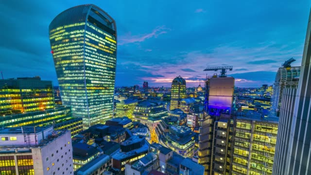 day to night time-lapse of the sunset over city of london skyline. - day stock videos & royalty-free footage