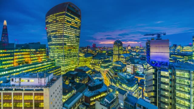 day to night time-lapse of the sunset over city of london skyline. - panoramic stock videos & royalty-free footage