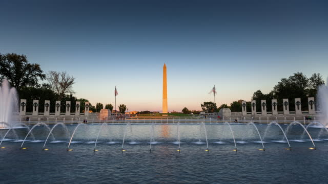 Day to Night Timelapse of World War II Memorial, Washington DC