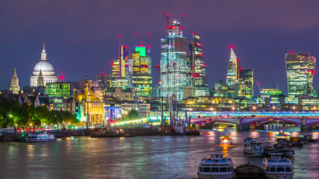 day to night time-lapse sequence of the city of london skyscrapers and river traffic on thames river. - tower stock videos & royalty-free footage