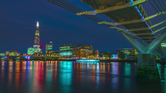 day to night time-lapse sequence of the millennium bridge and city of london skyline. - london millennium footbridge stock videos & royalty-free footage