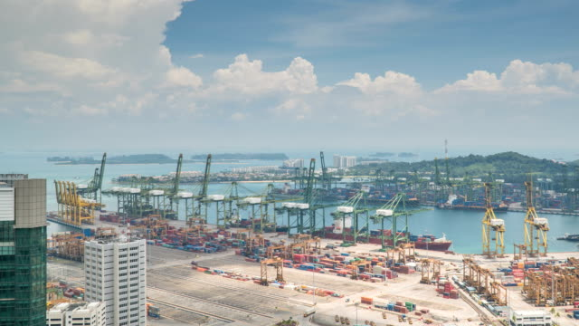 4k day to night time-lapse: singapore aerial warehouse port background - commercial land vehicle stock videos & royalty-free footage