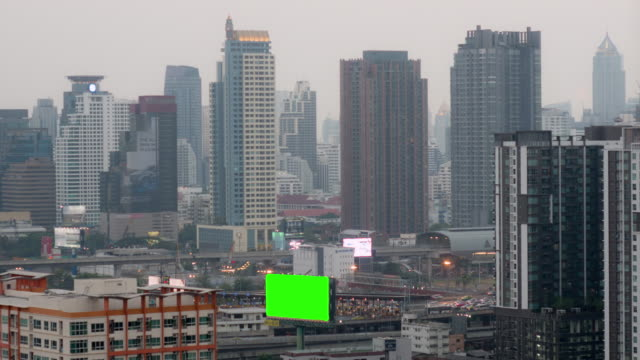 Day to Night timelapse with green screen billboard