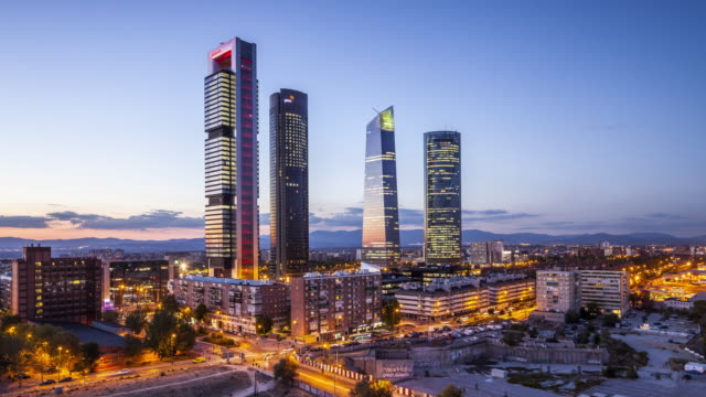 ZO Day to night TL of Cuatro Torres Business Area in Madrid, Spain.