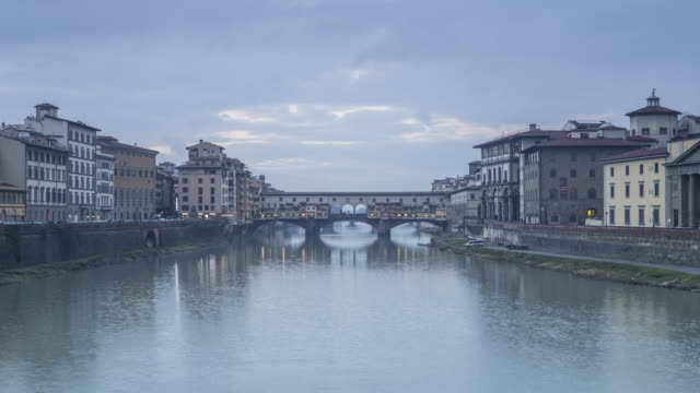 Day to night TL of Ponte Vecchio in Florence, Italy.
