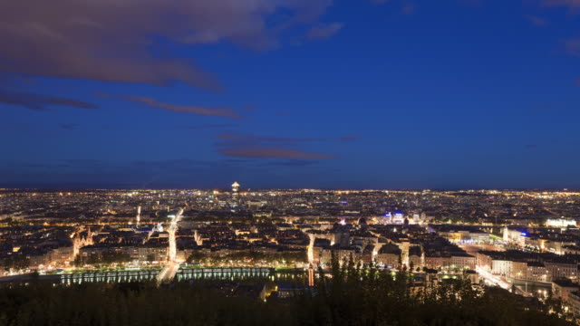 T/L Day to night Tracking shot of Lyon from the Fourviere hill